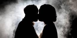 wedding couple in smoke